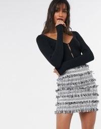 ASOS DESIGN mini skirt in textured mono boucle | fringed skirts