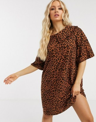 ASOS DESIGN mini tea dress with oversized prarie collar in leopard print