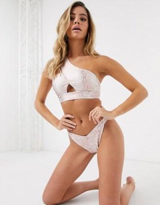 ASOS DESIGN one shoulder bikini in snake foil / reptile print bikinis / glamorous swimwear - flipped