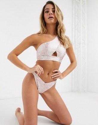 ASOS DESIGN one shoulder bikini in snake foil / reptile print bikinis / glamorous swimwear