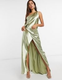 ASOS DESIGN one shoulder satin maxi dress with split strap detail milky khaki / slinky green occasion dresses / sheen effect fabrics