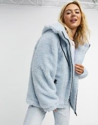 ASOS DESIGN oversized borg hero bomber jacket in baby blue / textured jackets / casual winter outerwear