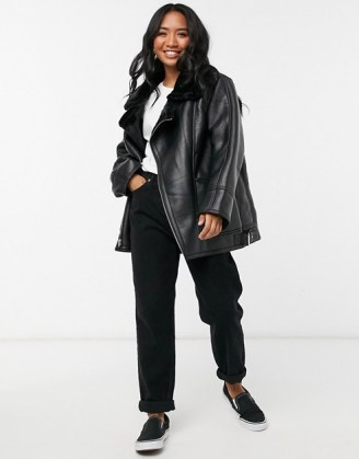 ASOS DESIGN Petite borg aviator jacket in black   casual relaxed fit winter jackets - flipped
