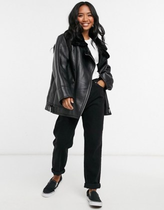 ASOS DESIGN Petite borg aviator jacket in black   casual relaxed fit winter jackets