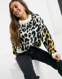 ASOS DESIGN Petite jumper in animal colour block / animal patterned jumpers / knitwear