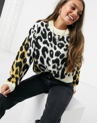 ASOS DESIGN Petite jumper in animal colour block / animal patterned jumpers / knitwear - flipped
