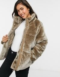 ASOS DESIGN plush faux fur puffer jacket in mink / luxe style casual jackets / winter outerwear