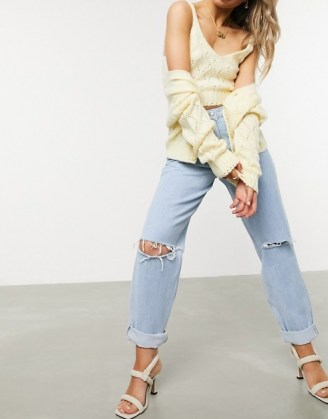 ASOS DESIGN recycled high rise 'slouchy' mom jeans brightwash | ripped denim - flipped