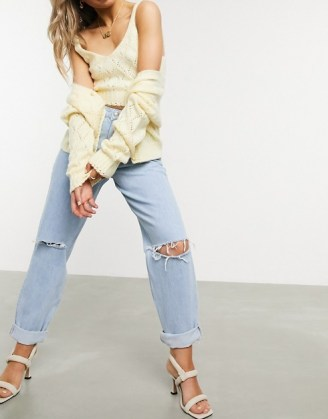ASOS DESIGN recycled high rise 'slouchy' mom jeans brightwash | ripped denim