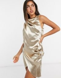 ASOS DESIGN satin draped mini dress with open back champagne / luxe style party dresses / drape effect / evening fabrics with sheen
