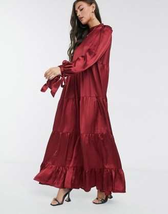 ASOS DESIGN satin tiered maxi smock dress with tie sleeves in wine red ~ long party dresses