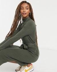 ASOS DESIGN tie waist midi dress   green ribbed knit dresses