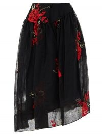 SIMONE ROCHA Asymmetric floral-embroidered tulle skirt ~ sheer overlay skirts