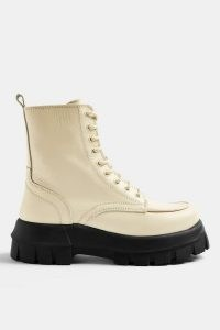 TOPSHOP AVA Ecru Leather Chunky Lace Up Boots / thick sole natural boots