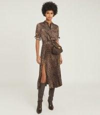 REISS AVIANNA CROC PRINT MIDI DRESS BROWN / pleated crocodile print dresses