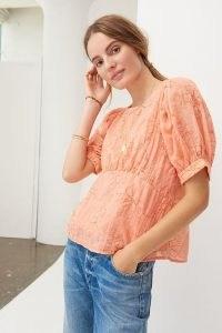Amadi Nika Embroidered Blouse / orange floral blouses