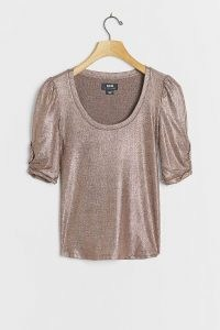 Pilcro Lexi Shimmer Tee Rose / metallic ruched sleeve t-shirt