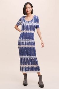 Kato Tie-Dye Midi Dress Blue Motif / short sleeve column dresses