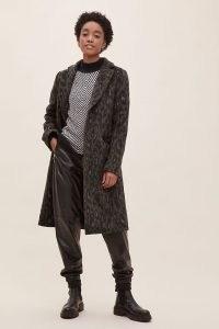 ANTHROPOLOGIE Frederica Coat Khaki / green animal print coats / outerwear