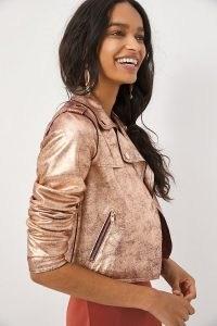 ANTHROPOLOGIE Brisa Metallic Faux Leather Moto Jacket Copper / crop hem biker jackets