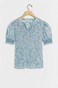 Saison De La Fleur Miranda Blouse | short puff sleeve blouses | blue floral print tops