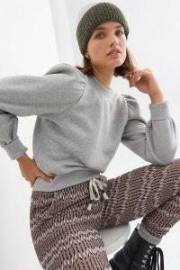 Second Female Carmella Sweatshirt | grey puff sleeve sweatshirts | pretty crew neck sweat top