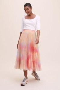 Geisha Designs Sela Tulle Midi Skirt Pink | pleated floaty style skirts