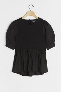 Maeve Carina Babydoll Top | black puff sleeve tops