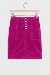 Pilcro Talia Corduroy Mini Skirt | raspberry-pink cord skirts