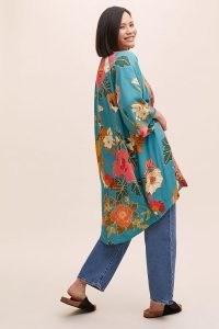 Kachel Floral Crane Kimono Blue Motif | bird and floral print kimonos