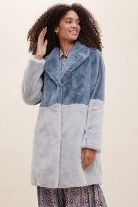 ANTHROPOLOGIE Colour Block Faux Fur Coat / winter coats