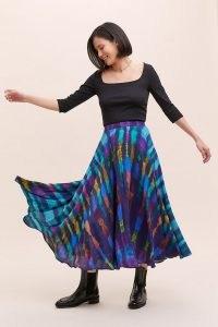Bl-nk Joni Tie-Dye Midi Skirt Blue | full skirts