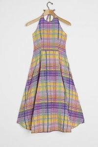 ANTHROPOLOGIE Cecily Plaid Midi Dress Purple Motif / checks / checked dresses