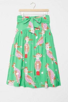 Camilla Perkins Birdie Midi Skirt Green Motif / bird prints / birds / skirts - flipped