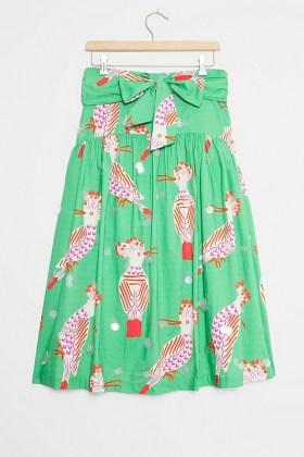 Camilla Perkins Birdie Midi Skirt Green Motif / bird prints / birds / skirts
