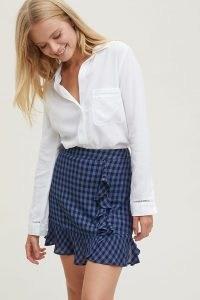 ANTHROPOLOGIE Gingham Layered Mini Skirt Blue Motif / check print ruffle skirts / checked ruffles