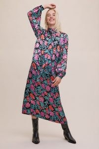 Gestuz Groa Midi Dress / long sleeve high neck floral dresses