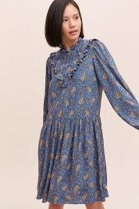 ANTHROPOLOGIE Maria Printed Tunic Dress Blue Motif / paisley print dresses / drop waist / front ruffle detail