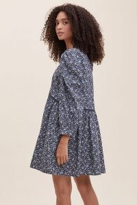 ANTHROPOLOGIE Keira Poplin Tiered Tunic Dress / floral loose fit dresses