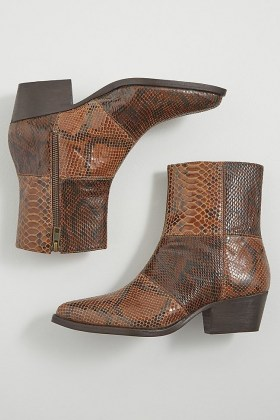 Hudson London Fogg Boots / brown snake effect leather boots - flipped
