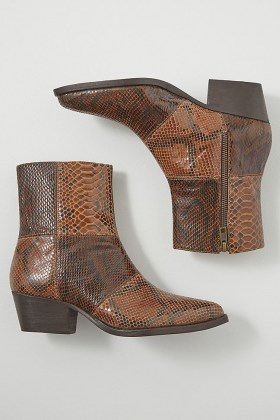 Hudson London Fogg Boots / brown snake effect leather boots
