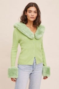 House of Sunny Peggy Cardigan Lime / green faux fur trim cardigans / glamorous knitwear / ribbed knits