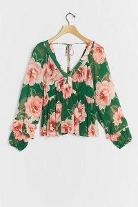 Farm Rio Rayna Blouse Green Motif / floral blouses