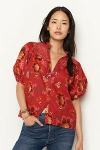 Farm Rio Giustina Lace Blouse / red floral puff sleeve blouses / lace detail tops