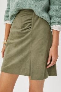 Roxanna Sueded Mini Skirt in Moss | green ruche detail skirts