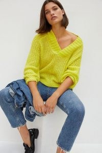 Anthropologie Honore Ribbed Jumper ~ bright yellow V-neck jumpers
