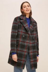 ANTHROPOLOGIE Amber Check Coat Black Motif / checked winter coats