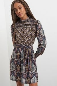 Vineet Bahl Arianna Tunic Dress / long sleeve mixed print dresses / high neck