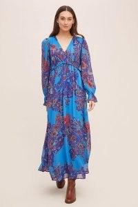 ANTHROPOLOGIE Stasya Embroidered Maxi Dress Blue Motif