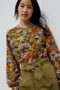 Maeve Gardenia Sweatshirt in Gold / floral sweat tops